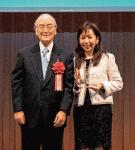 三村会頭(左)と諏訪社長