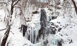 冬にしか見られない素晴らしい光景が広がる「玉簾の滝」は、県内一の高さを誇る