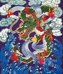 油単の絵柄。戦国武将や龍や虎などをあしらっているのが大きな特徴。派手な色使いの油単は香川独自のもの