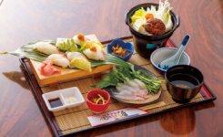 生・炙り・創作の3種のにぎり寿司をメーンに、鍋、吸い物、軟骨から揚げがついた豪華な「小林チョウザメにぎり膳」(1200円)