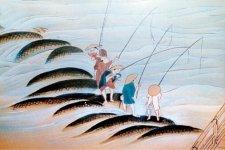 犀川で毛針を使ったアユ釣りを楽しむ武士たち(江戸時代・金沢城下図屏風)