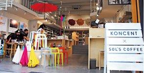 平成24年にオープンしたアッシュコンセプト直営店「KONCENT」。同社商品のほか、名児耶さんがコンサルティングした企業の商品なども扱っている