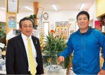 「安芸に来たら新鮮な海の幸を楽しんでほしい」と話す安芸水産の山本高正さん(右)と安芸商工会議所の岡村専務