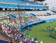 松山市内の坊ちゃんスタジアムで開催されたリーグ戦。ここではプロ野球の試合も開催されている