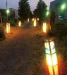 幻想的な明かりがともる散歩道