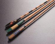 「紀州へら竿」。天然の「矢竹」「高野竹」「真竹」と3種類の異なった竹を用いてつくられる、橋本を代表する伝統工芸品だ