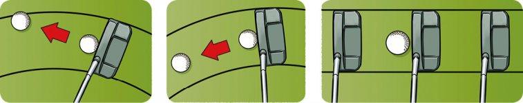 アマチュアゴルファーの場合、ボールが体から遠い人が多い。離れれば離れるほど、軌道は丸くなる。そして、右にズレると、押し出した形になり、左だと引っかけることに。基本はストレートな軌道でストロークすること