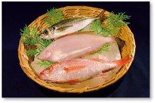 どんちっち三魚。石見神楽の囃子の音が幼児言葉で「どんちっち」ということに由来する。ノドグロ、カレイ、アジは浜田市を代表する魚だ