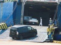 浜田港に来たロシア船に中古車を積み込む(画像提供:浜田港振興会)