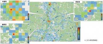 リーサスを活用した観光の現状分析の一例。観光客の来訪場所や流動人口が色でわかりやすく示されている