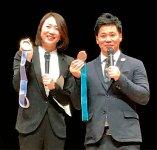 長野五輪の金メダリスト・清水宏保氏(右)の記念公演が行われ、シドニー五輪銅メダリスト・田中雅美氏も登壇した