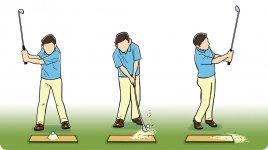 板の上に砂を盛り、そこにボールを置いて打つ。ウェッジのソールで板を叩くように打つこと。直接、ボールを打たなくても、ちゃんと飛ぶことが分かり、ダフることへの抵抗がなくなる