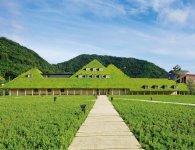 ラ コリーナの「草屋根」と呼ばれるメインショップ。背後の八幡山と草屋根が調和する景観に、訪れた人の多くがカメラを向ける