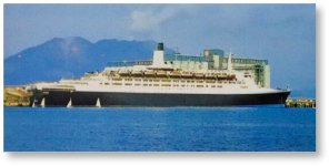 昭和54年3月13日に、世界一周クルーズの途中で鹿児島港に寄港したクイーンエリザベスⅡ世号