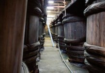 工場に並ぶしょうゆ樽