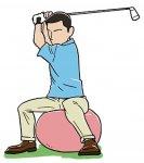 平均台の上、バランスディスクやバランスボールの上など、バランスの悪い状況で練習することがバランスのいいスイングを生む