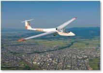 グライダー:石狩川の河川敷の800mの滑空場から飛び立ったグライダーが、当市の上空をゆっくり旋回