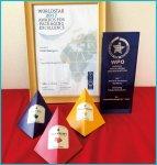 3つのピラミッドパッケージに受賞の楯と証書