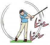 クラブを逆さに持ち、上体をリラックスさせて、できる限り速く振る練習を繰り返す