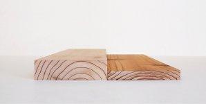 曲げ木加工技術を基に、加熱圧縮と成形技術を駆使し70%の圧縮を実現。写真は無圧縮材(左)と50%圧縮材