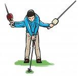 クラブヘッドが視界の中にある間は常にラケットの背が見えるようにして、ラケットでボールを真っすぐ飛ばすつもりでスイングする