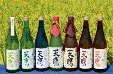 純米酒から純米大吟醸までそろう天鷹酒造の有機日本酒のラインナップ。欧米でもオーガニック清酒として販売されている