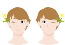 ①ウォーミングアップ 左右交互に10~20回、リズミカルにウインクをする。最後に両目をギュッと閉じてパッと見開く