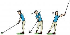 クラブを長く持つと…… ボールから離れて構える 芯に当たらない。当たり負けする 負けないように強く握り、さらにミート率が落ちる