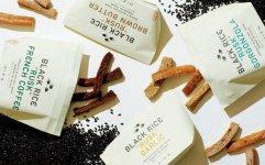「HIEN」黒米ラスクは、焦がしバター、ゴルゴンゾーラ、コーヒーフレンチ、ガーリックの4種類。各45g入り550円(税別)