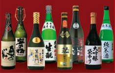 二本松の地酒の数々。左から「奥の松」「大七」「人気一」「千功成」