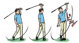 左手1本でクラブを逆に持ってスイングする練習 振るときに体の左側で「ビュン」と音がするようなスイングを目指す