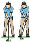 クラブが長くなるほどボールの位置は左になって、手の位置は真ん中近くになる。クラブが短くなればアドレス時のグリップの手元はボールより左になる