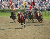 多くの観客が見守る中で行われる甲冑競馬は、騎馬武者の勇壮果敢な走りが見どころ