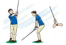 風に負けないスイングを コンパクトなスイング。重心を下げて構える。クラブは短く持つ。