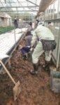重機が入れないため、土砂のかき出しは手作業で行われた