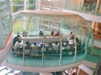 東京・武蔵野市にある成蹊大学図書館に採用された曲げガラス。全てカーブの異なるガラスが組み合わされている