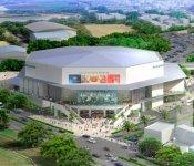 沖縄アリーナ(仮称)の外観(完成予想図):スポーツイベントやライブなどを開催できる県内最大規模の屋内施設