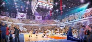 沖縄アリーナ(仮称)の内観(イメージ図):完成後は、Bリーグオールスターゲームやバスケットボールワールドカップ予選など白熱の試合が行われる