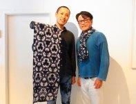 有松絞染ブランドを世に出したZAKの今枝和仁さん(右)とアーティストの藤井祥二さん(左)
