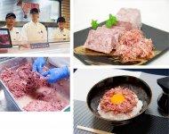 牛肉を塩漬けにしたコンビーフ。職人の手で丁寧にほぐされた肉の繊維と旨みが楽しめる(右上)ご飯にのせ生卵に燻製(くんせい)醤油をかけるのも人気(右下)