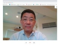 中村社長もテレワーク中。社内会議や取材対応はG Suiteの「meet」で行っている。同社が進めるいつでもどこでも同じクオリティで仕事ができる「どこでもオフィス」の実験だ