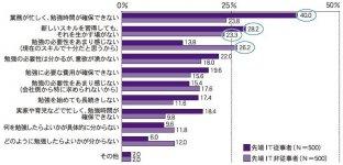 (図2)IT人材のITやデジタル関連のスキルアップに向けた勉強に関する課題