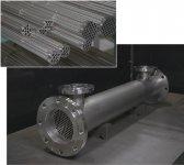 大栄螺旋工業の熱交換器。0・3㎜の薄さで製造できる独自のコルゲートチューブを採用した自信作