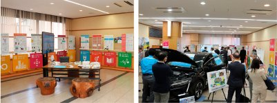 鳥取商工会議所1階のパネル展示コーナー。水素燃料電池車を展示したり、パネルの内容を変更したり、趣向を凝らして演出している