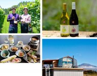 代表銘柄のひとつ、中棚ワイン(右上)、すぐ目の前に浅間山を眺めるワイナリー(右下)、富岡隼人さん(左上・写真左)と正樹さん、中棚荘の料理によく合う自家ワイン(左下)