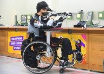 「ジャカルタ2018アジアパラ競技大会」の佐々木選手。10mエアライフル伏射に出場 撮影:吉村もと