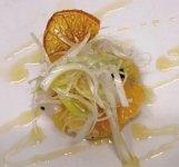 八百姫ひらめの調理例・セビーチェ(柑橘味のマリネ)
