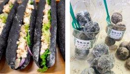 メニューの一例。タケノコとツナを竹炭入りのバゲットでサンド(左)、竹炭入りの2種類のドーナツ(右)