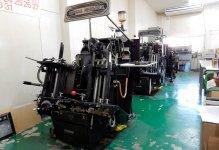 今では貴重なドイツ・ハイデルベルク社製の活版印刷機