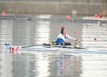 東京パラリンピック代表内定を決めた「アジア・オセアニア大陸予選」での市川選手の力強いオールさばき 撮影:小川和行